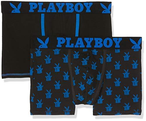 Playboy Herren Classic COOL Badehose, (Noir/Bleu+Imprime Chapeau Fxf), X-Large (erPack 2)