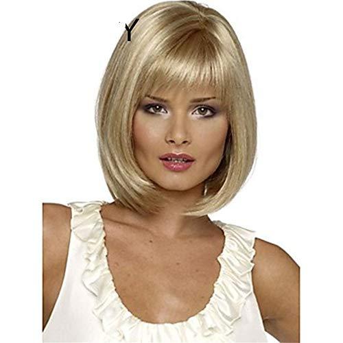ZHANG Weiße Frauen synthetische volle Perücken Kurze gerade Bob Frisur Blonde Highlights Haar Perücke hitzebeständig,Gold -
