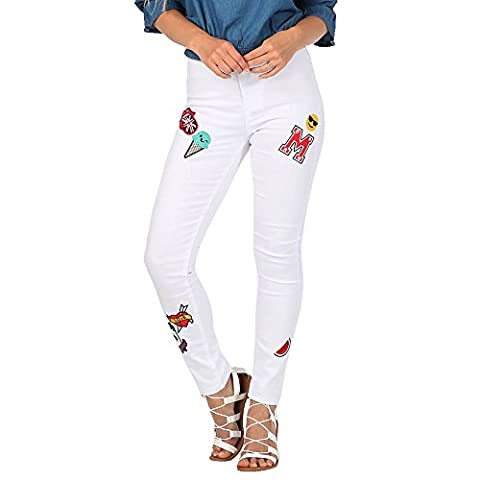 SCO New Womens Floral Embroidered Skinny High Waist Ripped Stretchy
