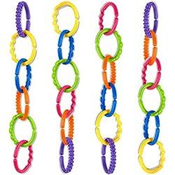 TALINU chaîne de poussette pour enfant (24 pièces) - chaîne de jeu pour bébés, chaîne d´activitée pour poussette, jouet pour poussette bebe