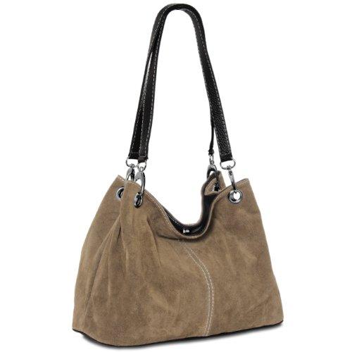 CASPAR TL621 klassische Damen Wildleder Handtasche, Farbe:khaki - Khaki Handtasche