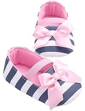 zhouba Casual bebé niñas rayas bowknot infantil Princesa zapatos de suela antideslizante cuna Prewalker