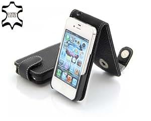 Exklusive Ledertasche für Apple iPhone 4, 4S (16, 32 & 64GB) aufklappbar in Schwarz aus echtem Leder von StilGut (B-Ware)