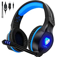 QcoQce XboxOneHeadset, Gaming Headset PS4 with Microphone and LED Lighting, Over-ear Gaming Headphones for Laptop PC Mac Computer and Smartphone (Blue)