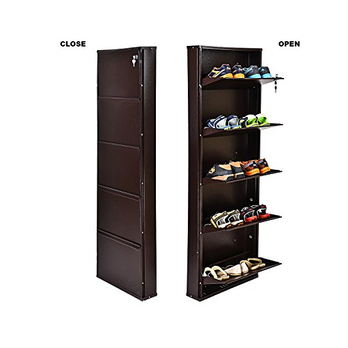 Paffy Powder Coated 5 Door Steel Shoe Rack - Full Brown