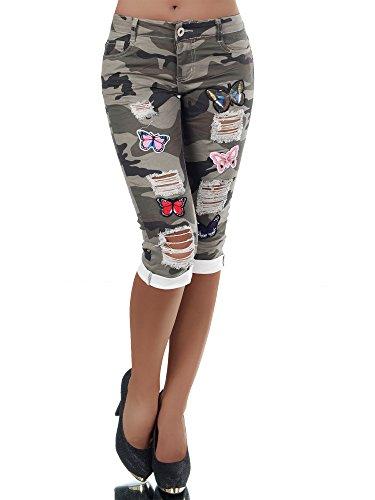 N379 Damen Capri Jeans Hose Shorts Damenjeans Army Caprijeans Camouflage, Farben:Grün;Größen:38 (M)