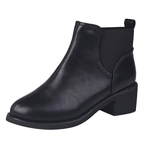 MYMYG Damen Chelsea Boots Schlüpfen Leather Stiefeletten Frauen Platz Ferse Schuhe Martain Boot Leder Einfarbig Runde Zehe Slip-On Flache Schuhe Ankle Boots Freizeitschuhe