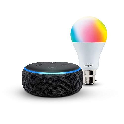 Echo Dot (Black) bundle with Wipro 9W smart bulb