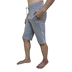 Yogaaddict Men Yoga Shorts Pants, Ideal For Any Yoga Style & Pilates, Premium Quality, Light Grey - Size M