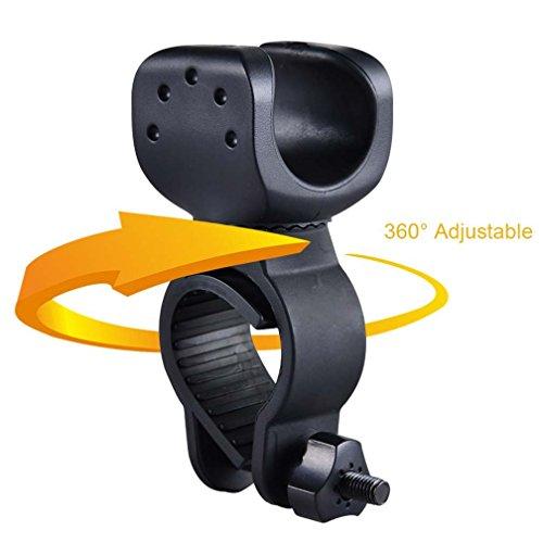 Canwelum - Abrazadera de Bicicleta Ajustable 360 Grados, Montaje de Bicicletas para Linterna LED como Faros LED la Bici