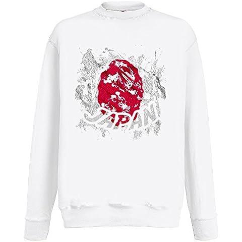 Bandiere Firmata Collezione 2, Fruit of the Loom Bianco Mens Sweatshirt Uomo Felpa Set-In Leggera con Design Colorato. Taglia S M L XL 2XL. - Vintage Firmata Giappone