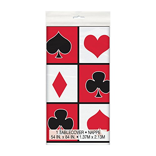 Unique Party 49673 - Plastic Casino Party Tablecloth  7ft x 4 5ft