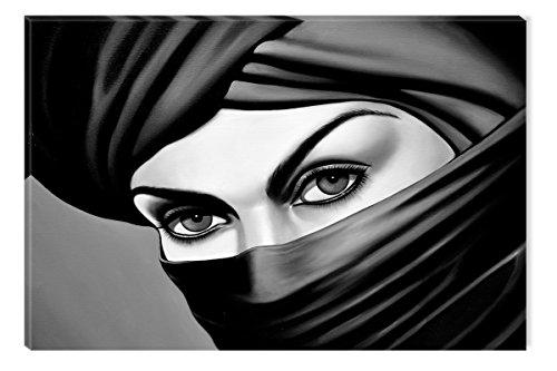 Leinwand-wand-kunst Arabisch (Startonight Leinwand Wand Kunst Schwarz und Weiß Arabische Augen, Doppelansicht Überraschung Modernes Dekor Kunstwerk Gerahmte Wand Kunst 100% Ursprüngliche Fertig zum Aufhängen 60 x 90 CM)