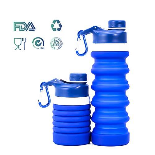 Weisika Faltbare Wasserflasche Silikon Wasserflasche Tragbar Leicht Anti-Leckage BPA Frei Medizinisc (Ozean Blau)