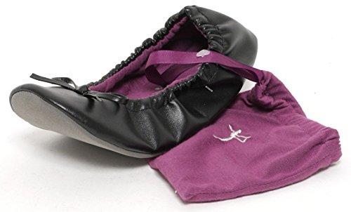 Ballerinas Faltbare (Damen Ballerina Yoga Schuhe Gymnastikschuhe Hauschuhe Puschen Bequemschuhe im Beutel schwarz faltbar)