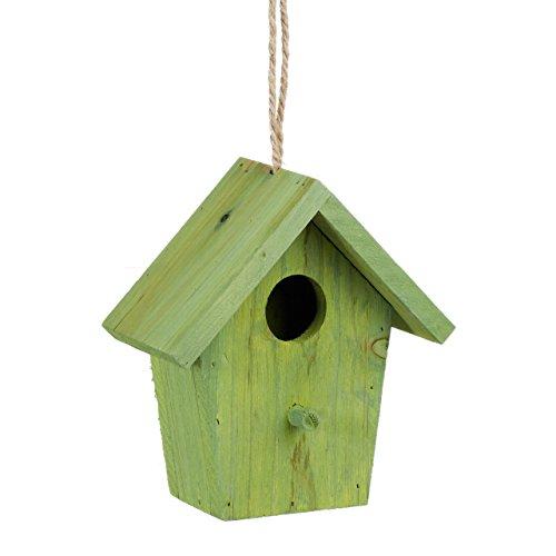 Relaxdays Maison à Oiseaux nichoir perchoir en Bois coloré à Suspendre HxlxP: 16 x 15 x 11 cm, Vert