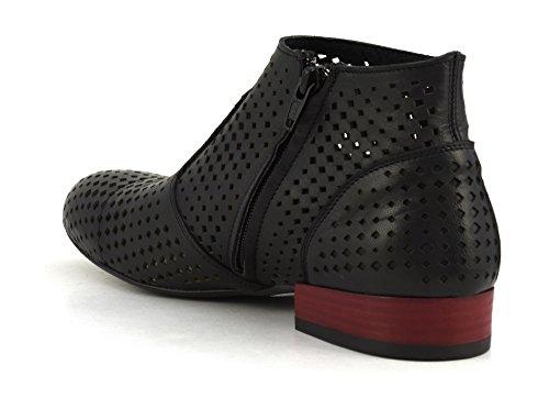 CAFè NOIR MEB232 nero scarpe stivaletto tronchetto donna zip forato Nero