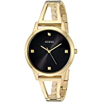 GUESS Gold-Tone + Black Genuine Diamond Watch with Self-Adjustable Bracelet. Color: Gold-Tone (Model: U1198L3)