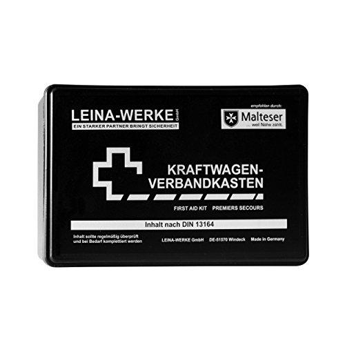 erste hilfe auto set Leina Werke 10002 KFZ-Verbandkasten Standard, Schwarz/Weiß