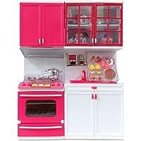 Mqfit Blue Modern Kitchen Set - Modular Kitchen Play Set with Cooking Range Unit, Refrigerator & Full Kitchen Accessories for Girls