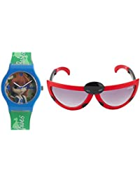 Fantasy World Blue Watch And Red Sunglass Combo For Boys And Girls - B078BXBNVP