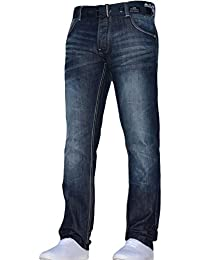 Mens Crosshatch Classic Straight Leg Regular Fit Stylish Denim Jeans All Waist Sizes Belted