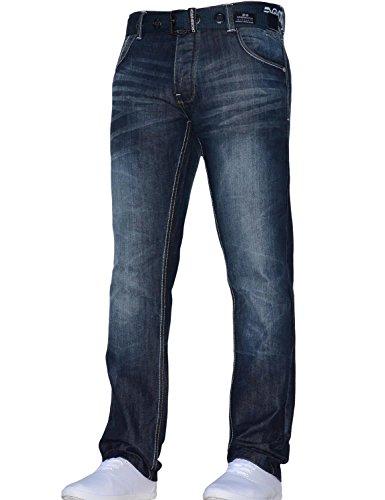 CrossHatch Herren Classic Straight Leg Regular Fit stylische Jeans alle Taillengrößen Gürtel Dunkle Wäsche 36W X 34L - Straight Leg Hose Jean