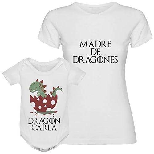 Regalo día de la madre camiseta madre personalizada + Body o camiseta hijo/a Texto estilo juego de tronos para mamá 1