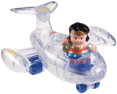 Fisher-Price - X3889 - Little People - DC Super Friends - Wonder Woman (ca. 5 cm) - mit Invisible Jet - coole Soundeffekte (englisch!!!) (Jet Invisible Wonder Woman)
