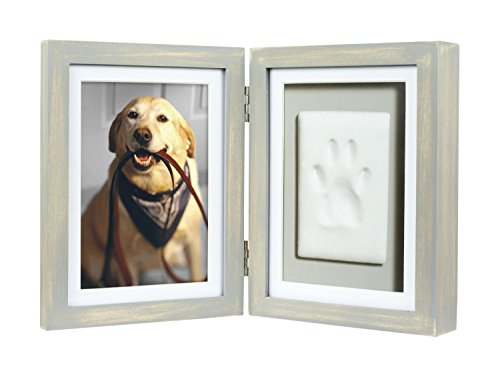 Pearhead Hund oder Katze Paw Print Pet Andenken Foto Rahmen mit PET Tatze Impressum Kit, graues, abgenutztes Holz, grau