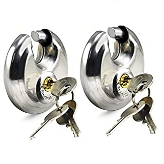 XFORT® 2 Pack Discus Padlocks 70mm Round Circular Padlocks, Hardened Steel Shackle Enclosed in a Steel Body, Great for Indoor and General Purpose Application on Minimum to Medium Security Items.