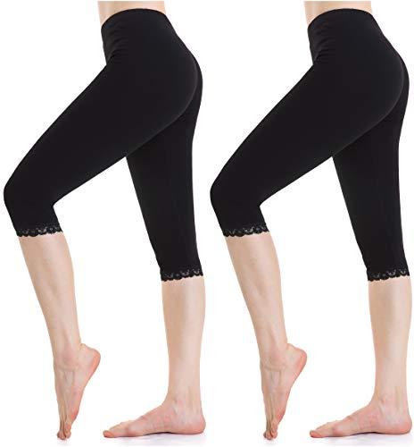 Ferrieswheel Story Damen Sport Leggings Capri Unter Rock Kurz Hosen - Leicht Stretch Yoga Shorts