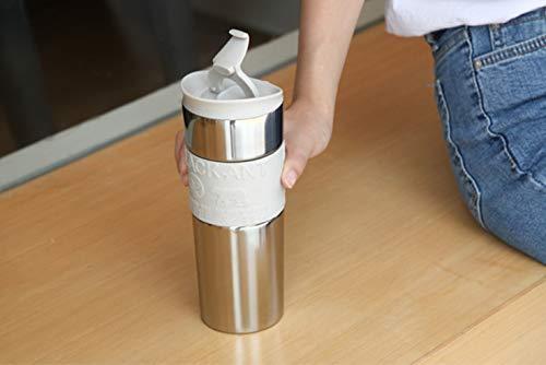 Fakdr Kaffeetasse Wiederverwendbare Tasse, Spiegelflasche, 304 Edelstahl Büro Schulcafé, in Mehreren Farben Erhältlich (213Mm * 62Mm),Gray (Flaschenverschlüsse Milch Glas)