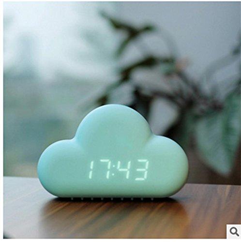 pengwei2015 ultra dormido tranquila cabecera reloj llevado pantalla calendario digital relojes MUID nubes despertador , blue