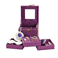 Esoes Jewellery Box, 3-Layer Velvet Jewellery Organiser Display Storage Case with Mirror for Rings Earrings Necklace Bracelet Women Lady Birthday Gift (Purple)