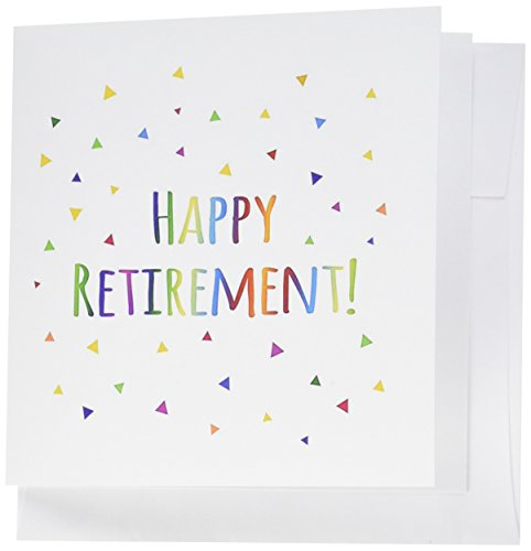 """3dRose feliz jubilación Colorful Rainbow texto tarjetas de felicitación, 6""""x 6"""", Set de 6(GC 202096_ 1)"""