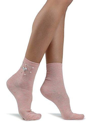 Socken mit Perlen (Licht Rosa) (Licht-perlen)