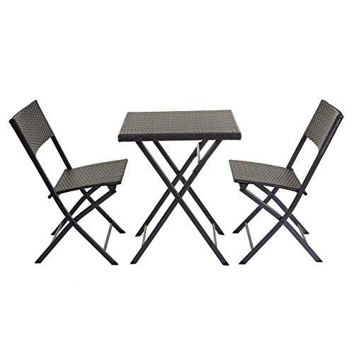 Mendler Poly-Rattan Balkonset HWC-E23, Garnitur Sitzgruppe Gartengarnitur, klappbar ~ braun