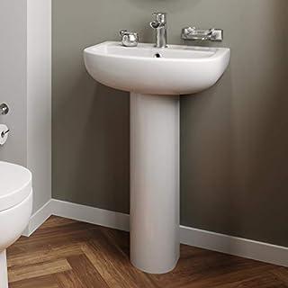Affine Modern Bathroom Basin Sink Single Tap Hole and Full Pedestal Ceramic White