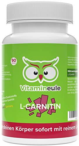 L Carnitin Kapseln hochdosiert - 500mg L-Carnitin Tartrat - höchste Qualität aus Deutschland - ohne Zusatzstoffe - L-Carnitintartrat als Fatburner oder unterstützend bei Diät - Vitamineule® -