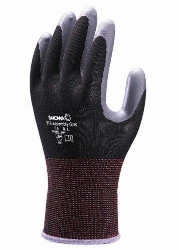 10 Paar Showa 370 Schwarz Montage Grip Handschuhe Aus Nitril Beschichtet Handfläche, Größe XL -