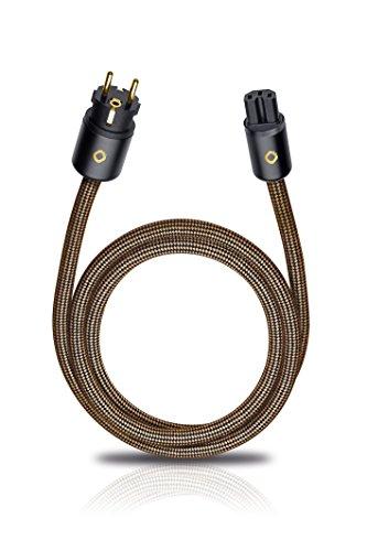 XXL Powercord 150 | High-End Netzkabel | 4mm² Innenleiterquerschnitt & 2-fach Schirmung | Steckertyp C15 auf CEE7/7 | 1,50 m - sepia braun