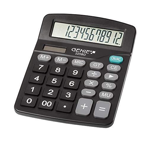 Genie 225 BD 12-stelliger Tischrechner, Dual-Power (Solar und Batterie), kompaktes Design, schwarz