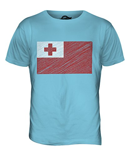 CandyMix Tonga Kritzelte Flagge Herren T Shirt Himmelblau
