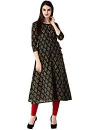 GLAM ROOTS Women's A-Line Cotton Kurta (GREEN)