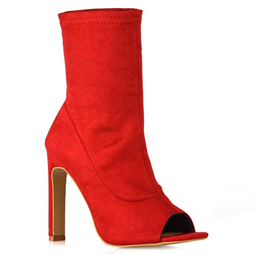 ESSEX GLAM Frauen Hoher Absatz Peep Toe Socken Knöchel Booties Damen Rot Wildlederimitat Peep Toe Schuhe Stiefel EU 38 -