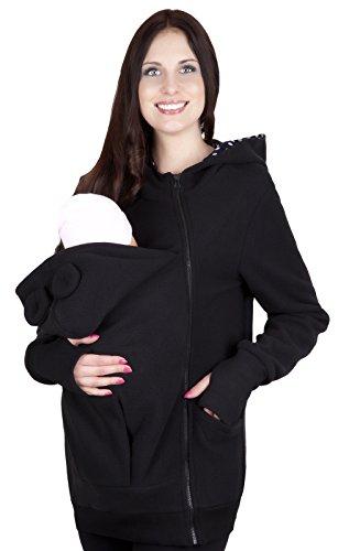 Mija Sudadera con Capucha Caliente de Lana Polar de Maternidad/Suéter para Dos/para portadores de bebé 4019A (M / 38, Negro)