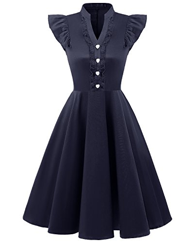 bridesmay Damen 1950er Vintage Retro Kurzarm Rockabilly Cocktailkleid Abendkleider Navy 2XL