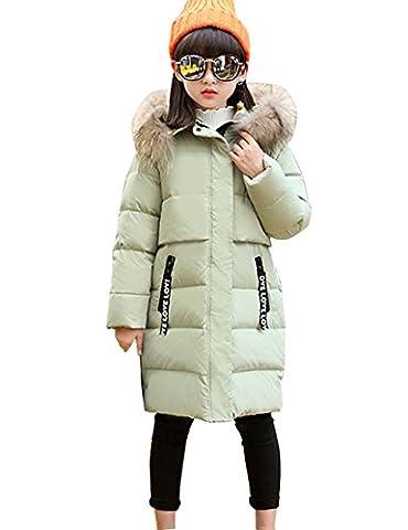 Menschwear Mädchen Daunen jacke Winter jacke leicht duenn Daunenmantel mit Kapuze Dicker Daunen jacke(140,Grün)