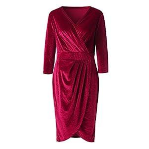 YCQUE Frauen Herbst Elegante Lose Sexy V-Ausschnitt 3/4 Hülse Gold Samt Knielangen Kleid Party Club Wrap Tee Cocktailkleid